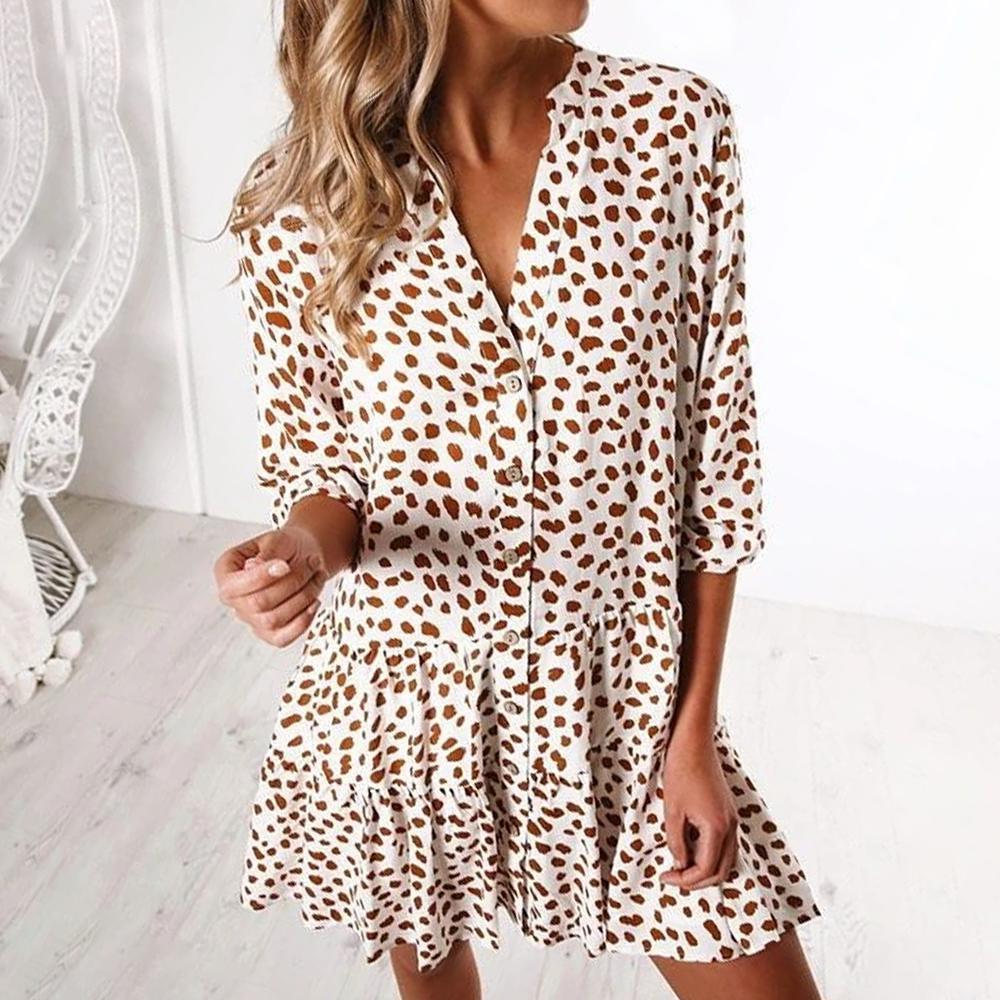 Chic V-Neck 3/4 Sleeve Loose Printed Shirt Dress-White-S-