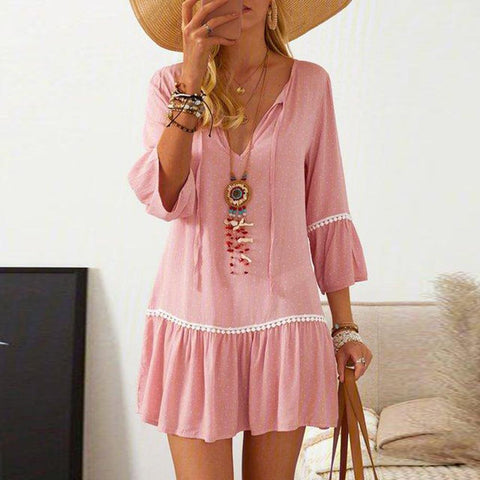 Chic V-Neck 3/4 Sleeve Pink Printed Pleated Dress-Pink-S-
