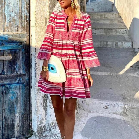 Chic V-Neck Bell Sleeve Loose Printed Mini Dress-Red-S-