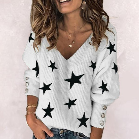 Chic V-Neck Button Long Sleeve Sweater-White-S-