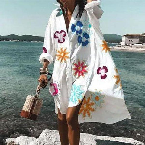 Chic V-Neck Long Sleeve Loose Floral Dress-Multicolor-S-