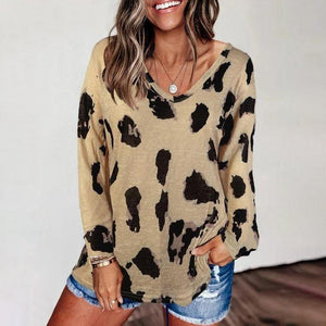 Chic V-Neck Long Sleeve Loose Printed Top-Light Brown-S-