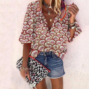 Chic V-Neck Loose Printed Vacation Blouse-Brown-S-