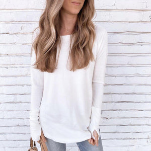 Chic White Plain Long Sleeve With Thumb-Hole Cuff Sweatshirt-White-S-