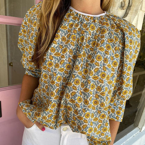 Chic Yellow Floral Round Neck Loose Blouse-Yellow-S-