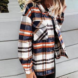 Cider and Pumpkin Patches Plaid Jacket-Navy-S-