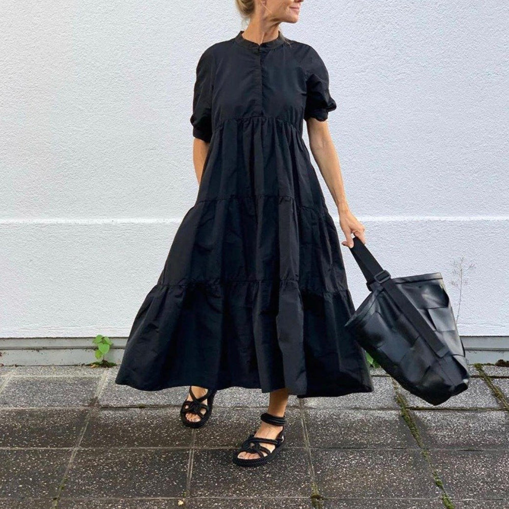 Classic Black Round Neck Short Sleeve Loose Pleated Splice Maxi Dress-Black-S-