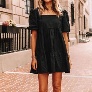 Classic Black Square Neck Short Sleeve Loose Pleated Dress-Black-S-
