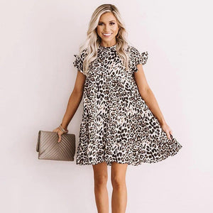 Classic Leopard Printed Round Neck Short Sleeve Loose Mini Dress-BROWN-S-