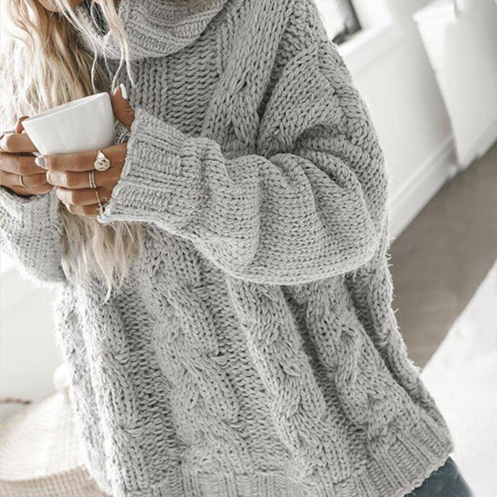 Classy Cable-Knit High Neck Long Sleeve Sweater-Grey-S-