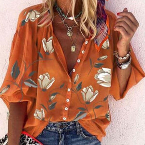 Classy Casual Loose Printed Blouse-Orange-S-