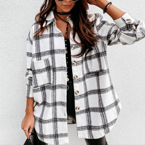 Classy Check Collared Long Sleeve Shirt-White and Black-S-