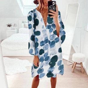 Classy Circle-Printed Long Sleeve Mini Dress-Blue-S-