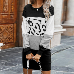Classy Color Block Print Mini Sweater Dress-Black-S-