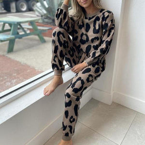 Classy Leopard Print Long Sleeve Lounge Set-Taupe-S-