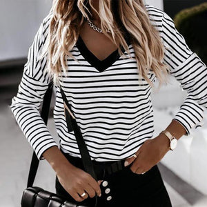 Classy V-Neck Striped Print Long Sleeve Tee-White and Black-S-