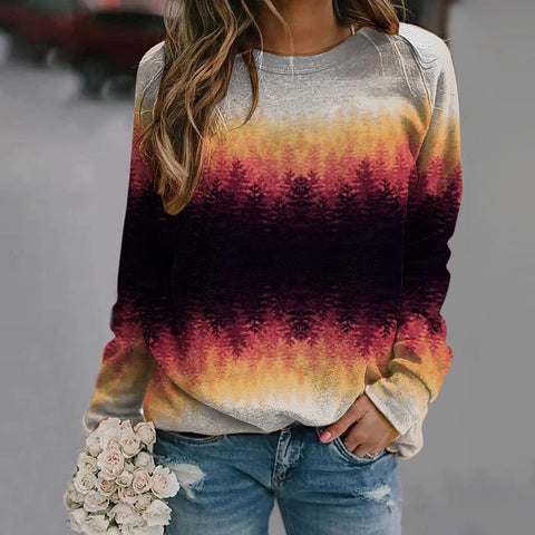 Color Block Long Sleeve Top-Multicolor-S-