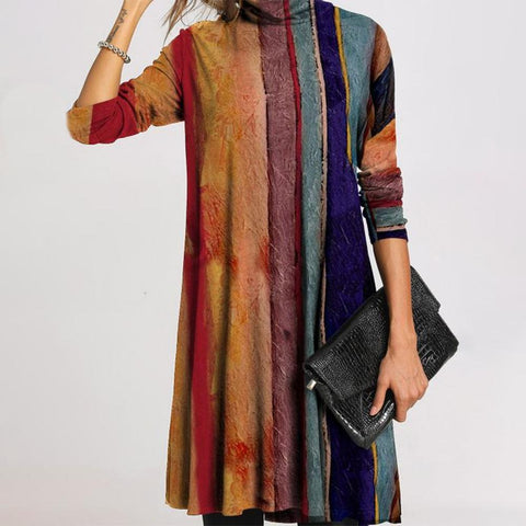 Color Block Mock Neck Long Sleeve Mini Dress-Multicolor-S-