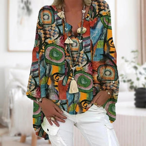 Colorful Long Sleeve Printed Top-Multicolor-S-