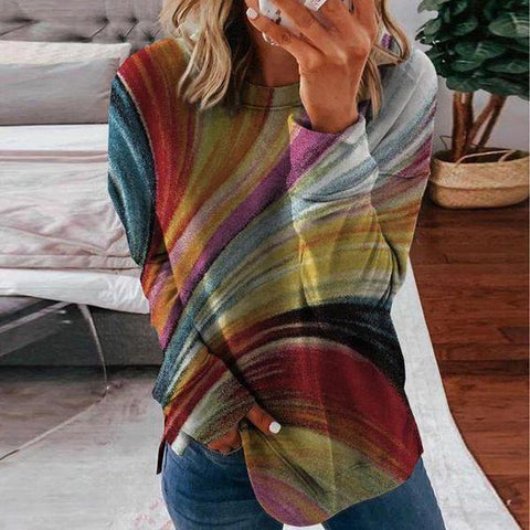 Colorful Printed Round Neck Casual Tee-Multicolor-S-