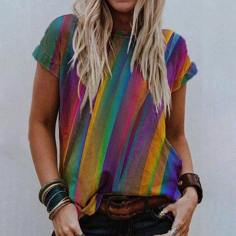 Colorful Printed Round Neck Short Sleeve Top-Multicolor-S-