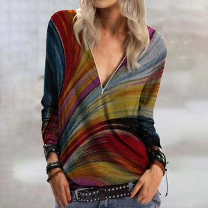 Colorful Printed Zipper Neck Long Sleeve Casual Top-Multicolor-S-