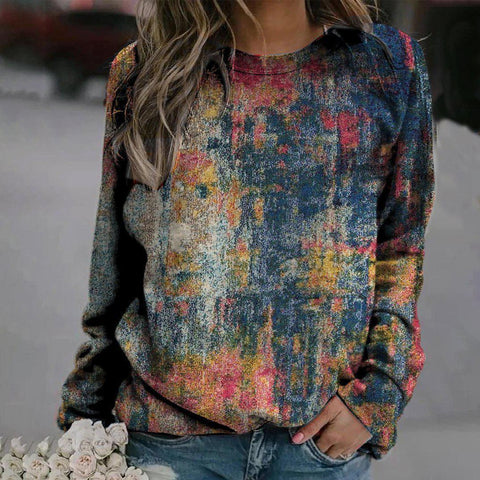 Colorful Round Neck Long Sleeve Printed Sweatshirt-Blue-S-