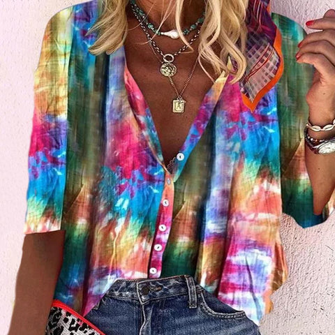 Colorful V-Neck 3/4 Sleeve Loose Vacation Shirt-Multicolor-S-