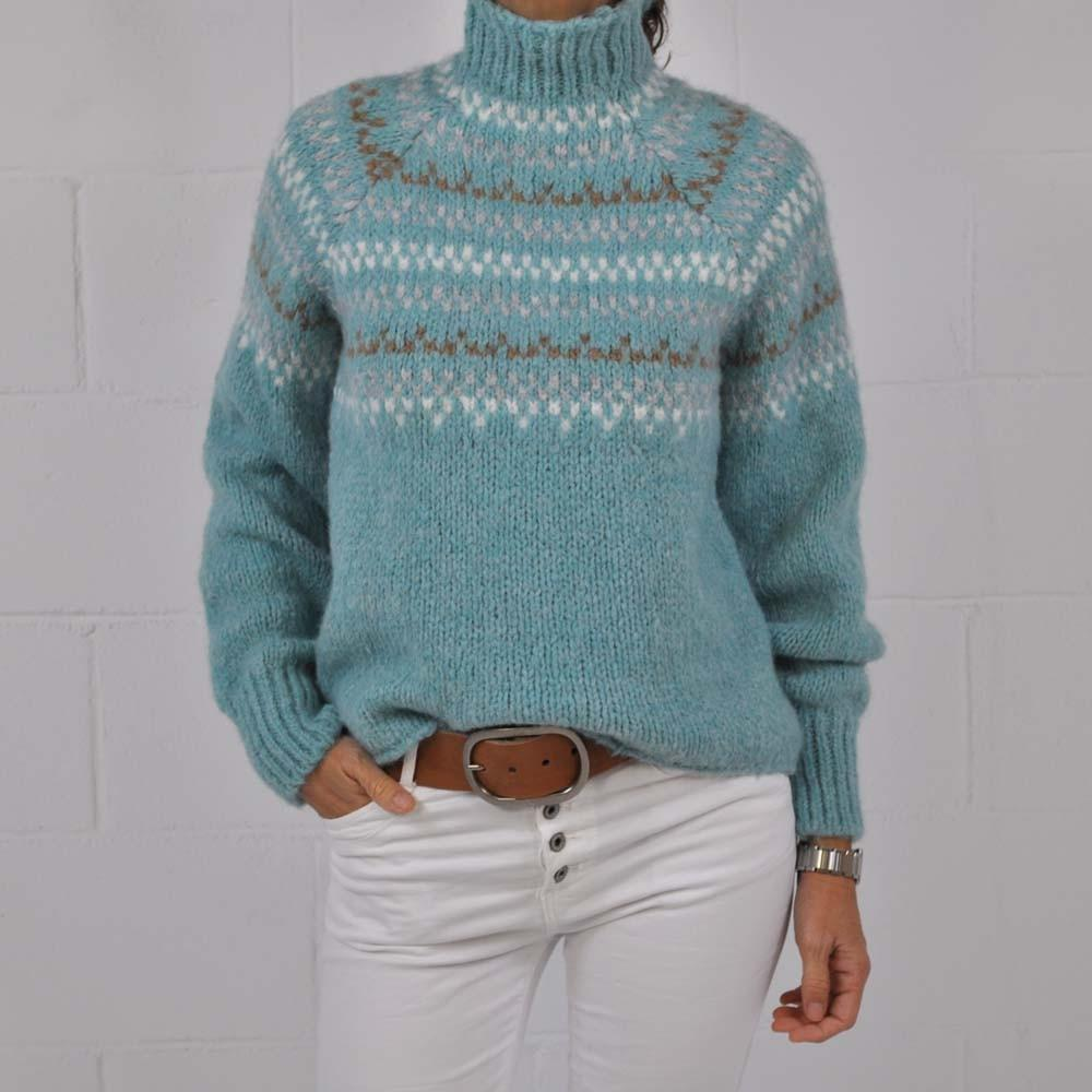 Comfy High Neck Long Sleeve Print Sweater-Blue-S-