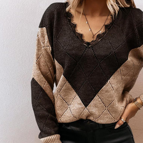 Comfy Lace V-Neck Color Block Long Sleeve Sweater-Brown-S-
