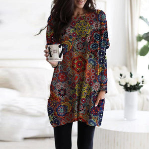 Comfy Long Sleeve Pockets Print Tee-Multicolor-S-