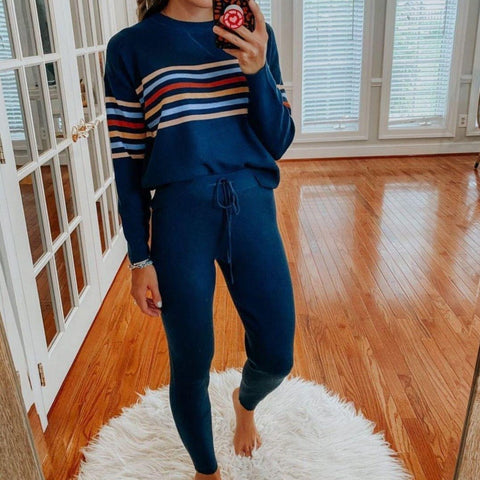 Comfy Long Sleeve Print Lounge Set-Navy-S-