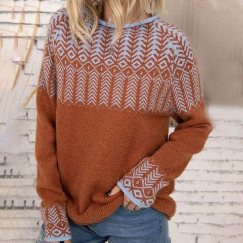 Comfy Long Sleeve Printed Sweater-Orange-S-
