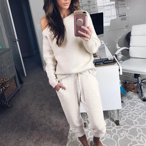 Comfy Plain Scoop Neck Long Sleeve Lounge Set-Apricot-S-