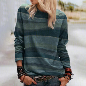 Comfy Round Neck Long Sleeve Top-Green-S-