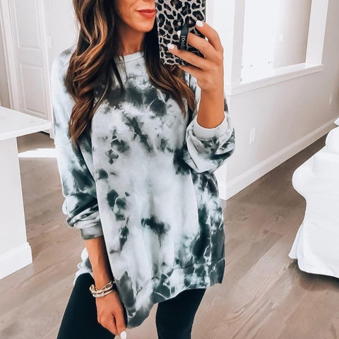 Comfy Round Neck Print Sweatshirt-Grey-S-