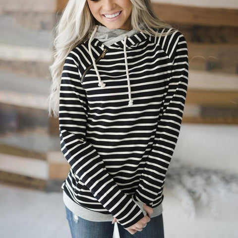 Comfy Striped Print Long Sleeve Top-Black-S-