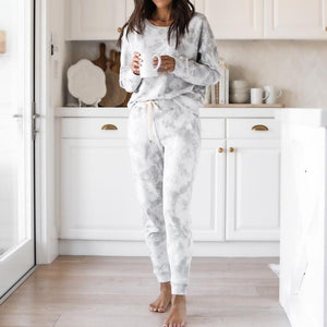 Comfy Tie Dye Print Round Neck Lounge Set-Grey-S-