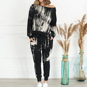 Cool Long Sleeve Printed Two Piece Set-Black-S-