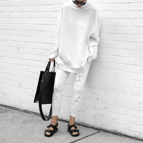 Cool Solid Long-Sleeved Two Piece Set-White-S-