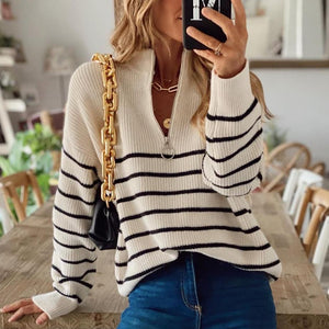 Cool Zipper V-Neck Long Sleeve Striped Sweater-Ivory-S-