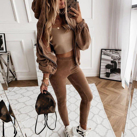 Cozy Plain Hoodie Top And Slim Fitted Lounge Jogger Pants Set-Brown-S-
