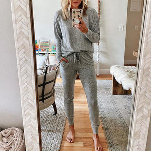 Cozy Simple Round Neck Top And Lounge Jogger Pants Set-Grey-S-