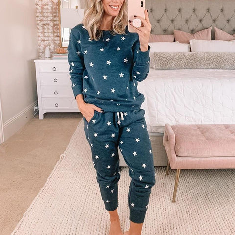 Cozy Star Printed Lounge Two Piece Set-Blue-S-