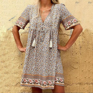 Cute as Can Be Floral Print Mini Dress-Brown-S-