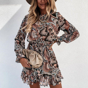 Cute Floral Print Long Sleeve Mini Dress-Multicolor-S-
