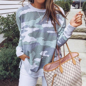 Cute on the Couch Camo Sweatshirt-Green-S-