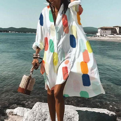 Cute Print Long Sleeve High Low Shirtdress-White-S-