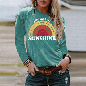 Cute Print Long-Sleeved Tee-Green-S-