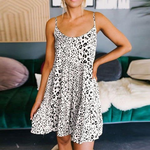 Cute Print Spaghetti Straps Sleeveless Mini Dress-White-S-